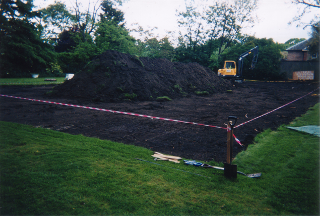 Earthworks taking place (soil heaped for removal off-site)